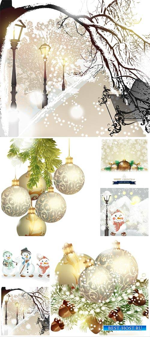 New Year, vector background with balls and winter landscape