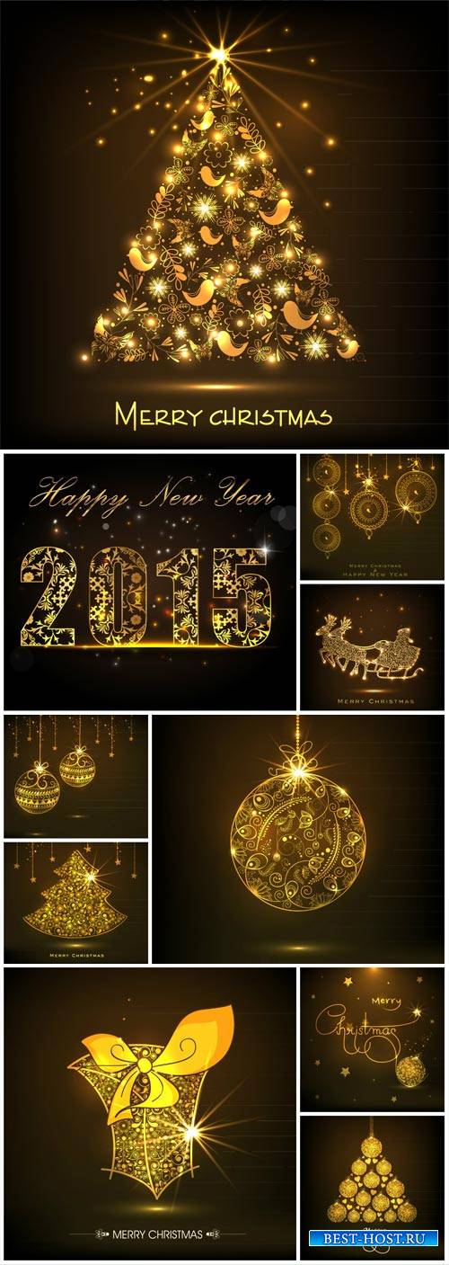 Christmas vector, golden tree, glittering balls