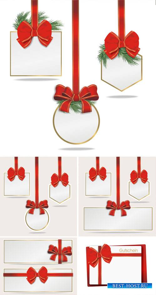Holidays white cards with red ribbons, vector #2