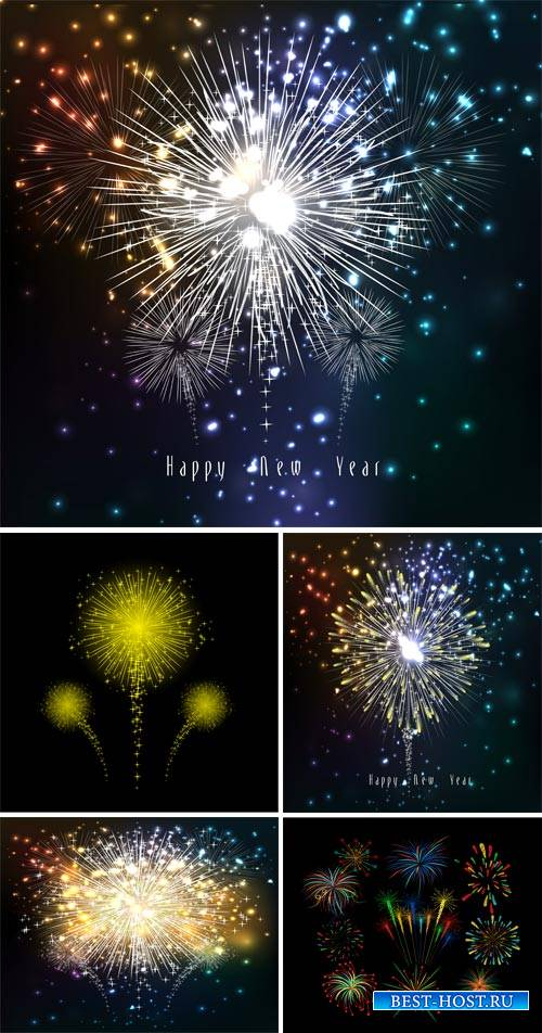 New Year's fireworks, vector backgrounds