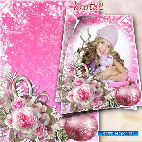 Новогодняя рамка для девочки - Растают зимние цветы