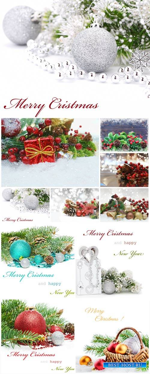 Christmas composition, Christmas tree and glittering balls - stock photos