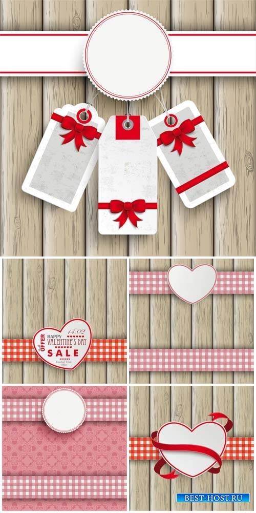 Vector backgrounds with hearts and coupon labels