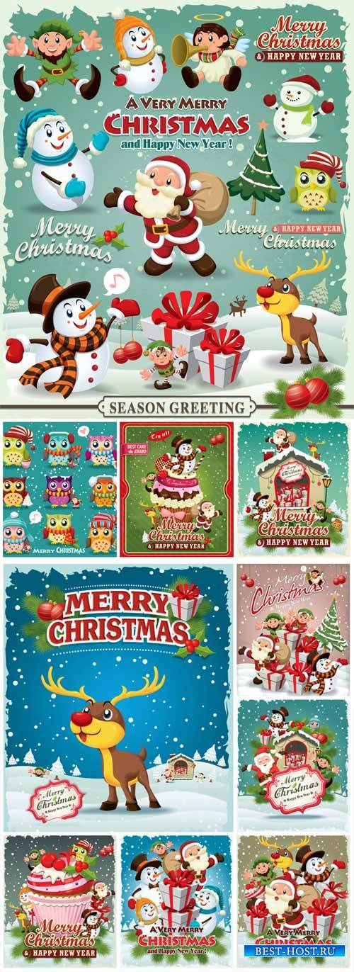 Christmas and New Year, vector background with Santa, snowman and animals