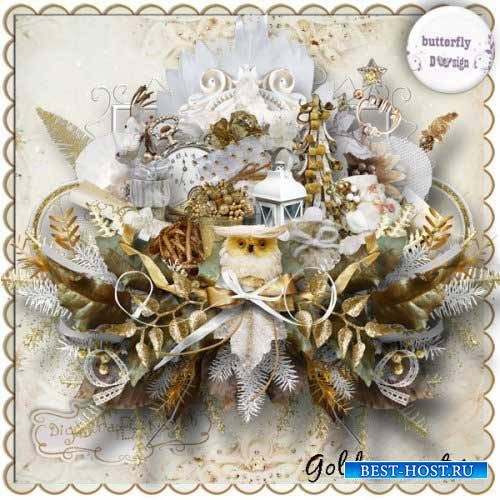 Зимний скрап-комплект - Золотая зима