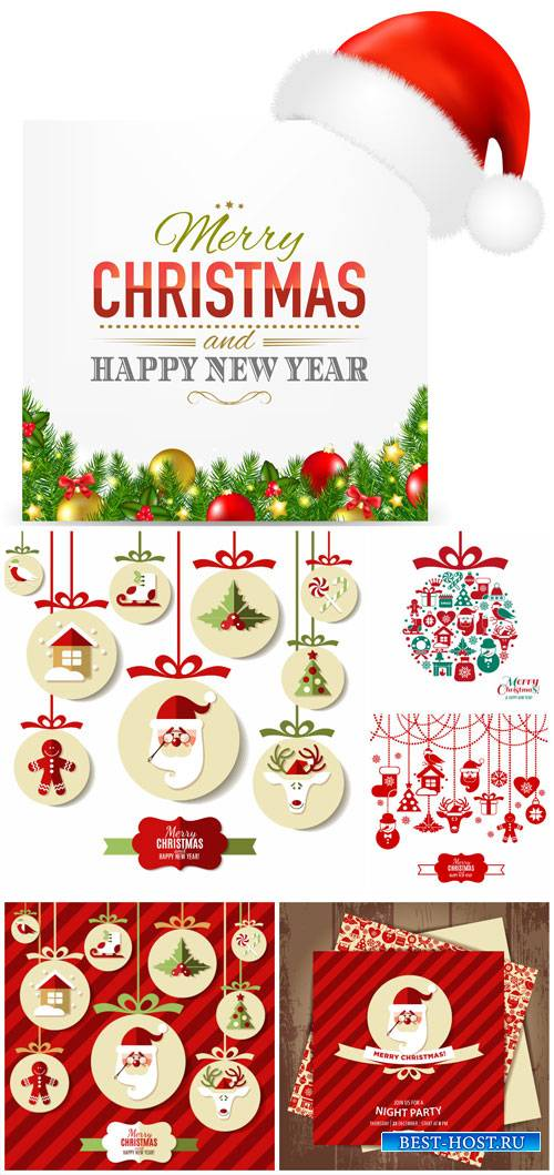 Christmas and New Year, garlands vector Santa Claus