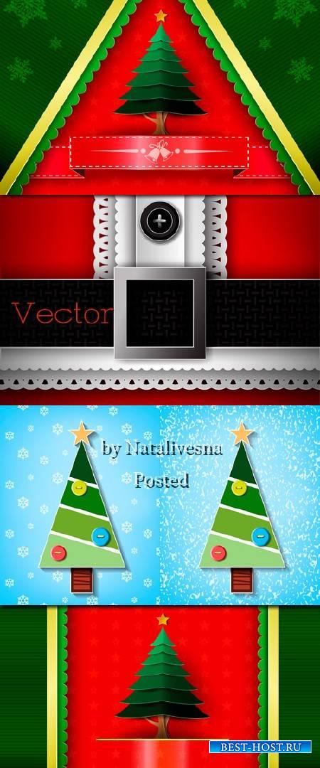 Новогодние фоны в Векторе с зелеными елочками