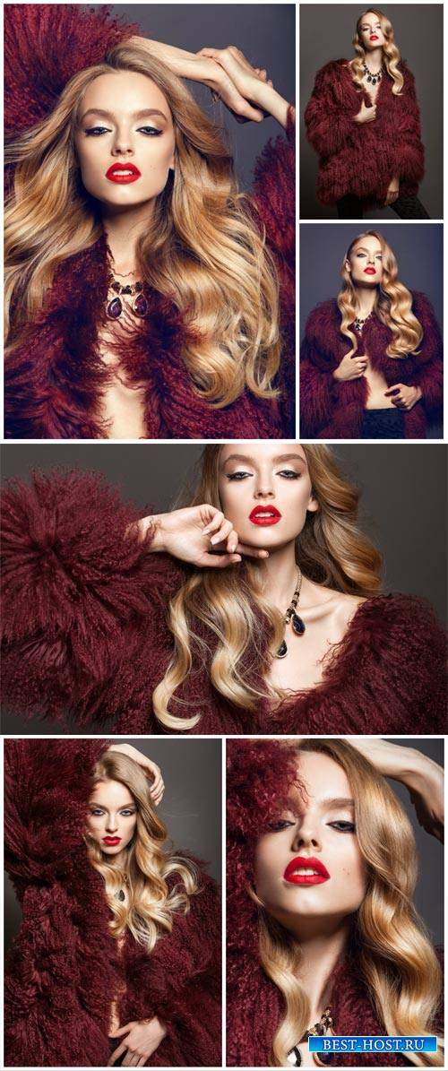 Glamour girl in a fur coat - Stock Photo