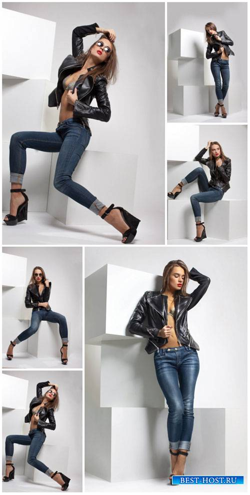 Girl in jeans and a leather jacket - Stock Photo