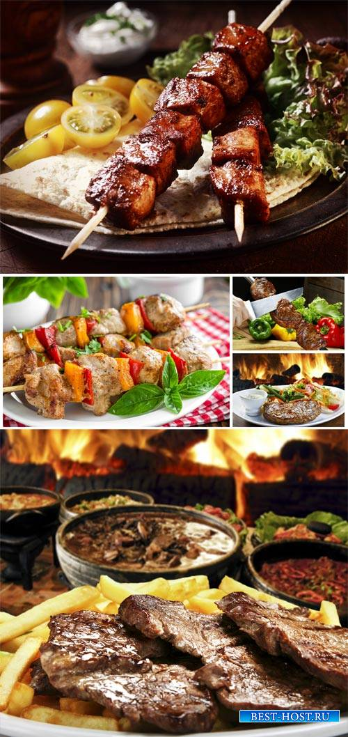 Meat dishes, barbecue - stock photos