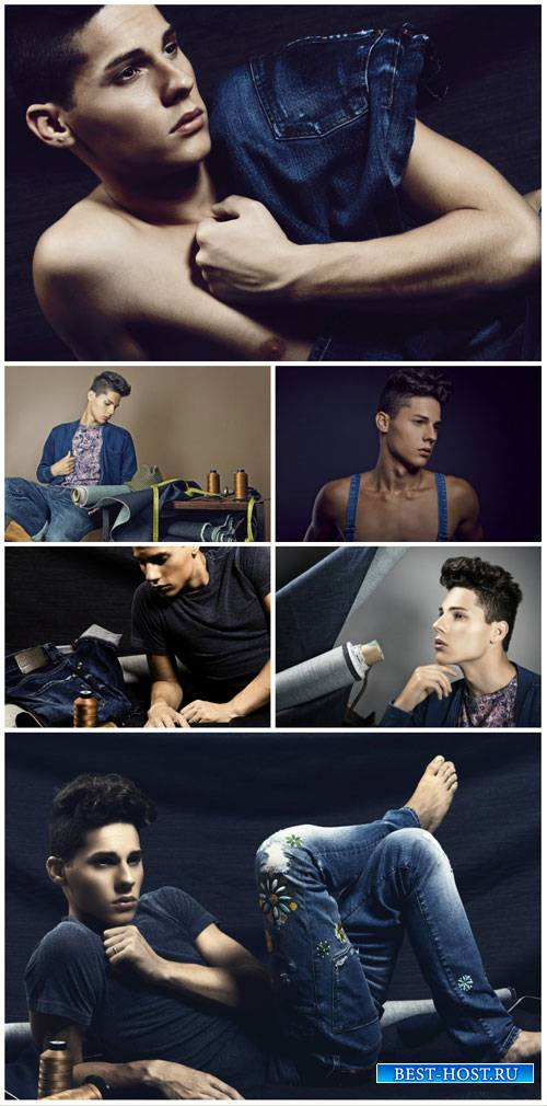 Stylish young man in jeans - stock photos