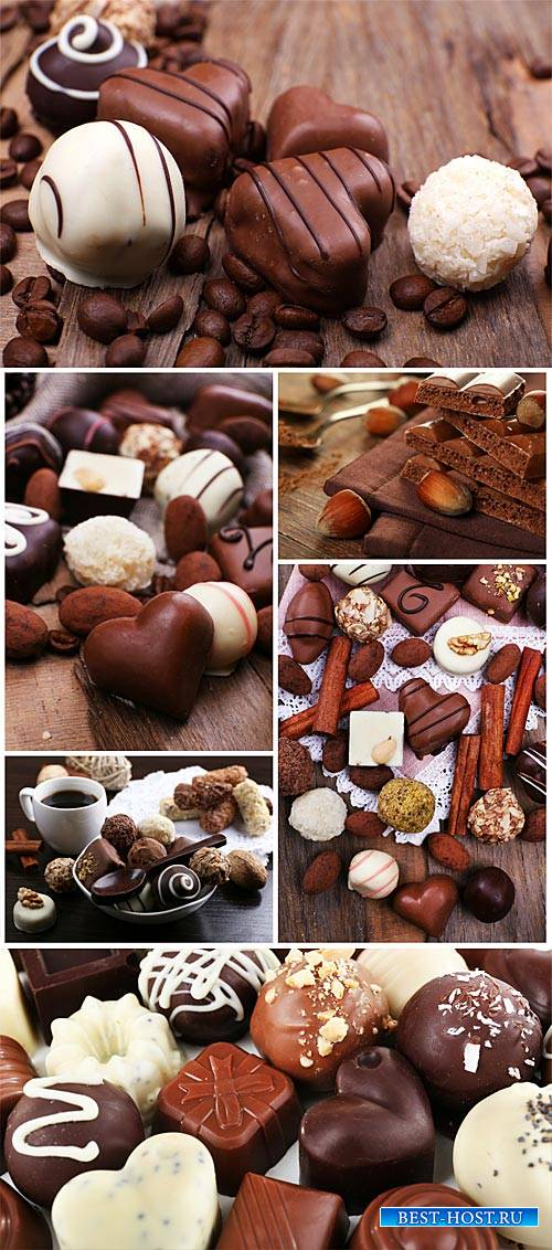 Chocolate candies, white and dark chocolate - stock photos