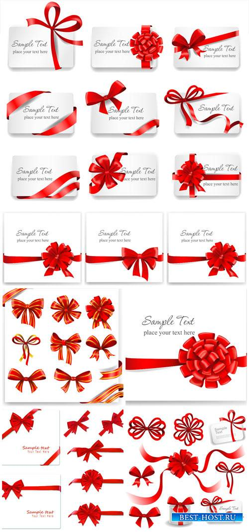 Cards with red ribbons, holiday vector backgrounds