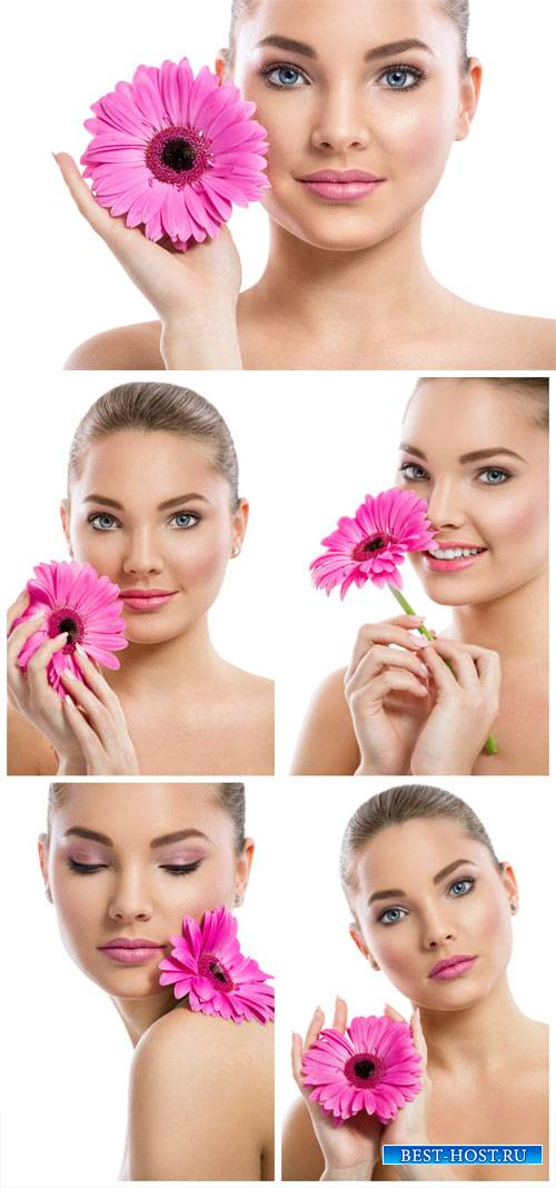 Girl with pink flower - stock photos