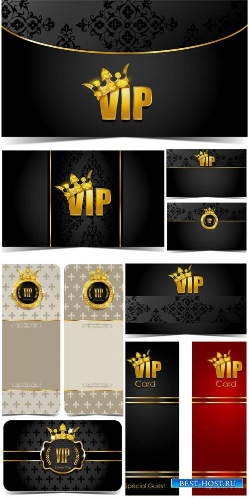 Vector VIP Card with a golden crown