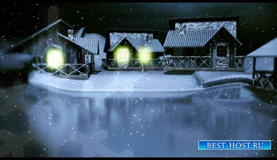 Футажи ночь новогодняя и в дома горит свет