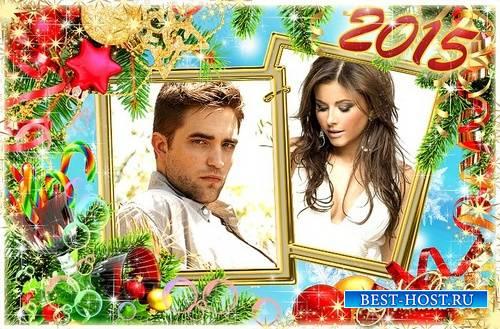 Праздничная новогодняя рамочка на 2 фото - Новогодние бокалы