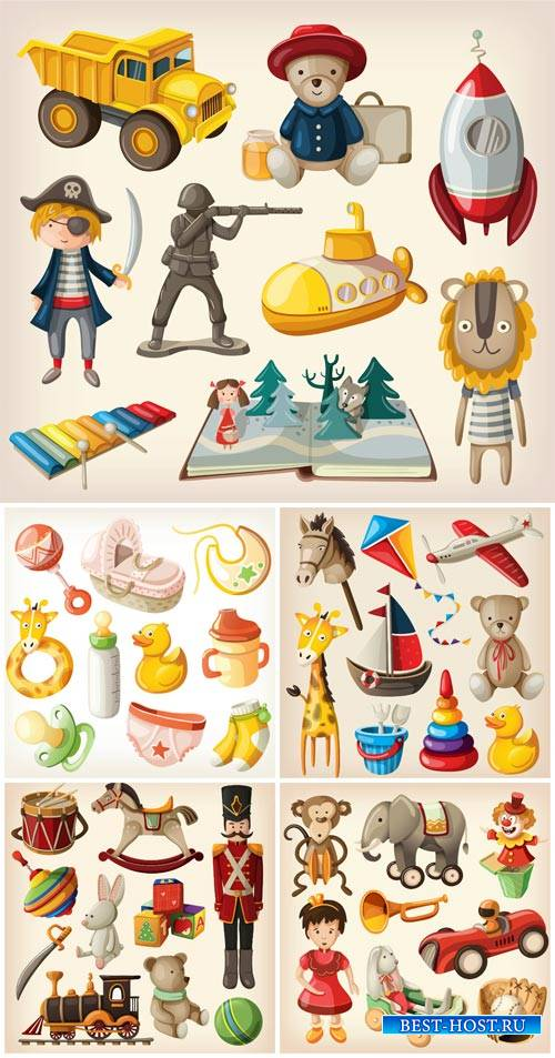 Children's toys vector, pyramid, cars and dolls