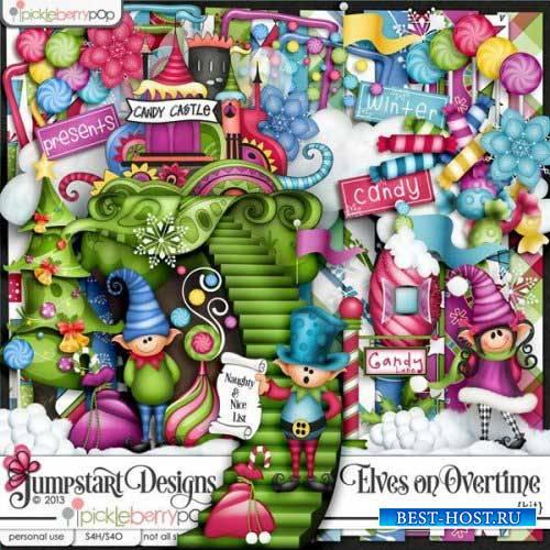 Детский новогодний скрап-комплект - Elves On Overtime