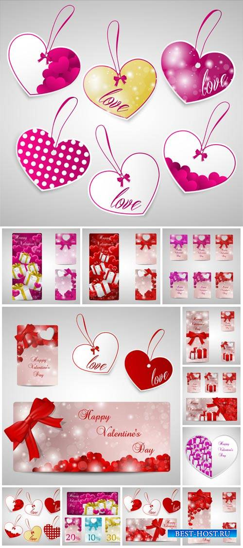 Valentine's Day, vector hearts, labels