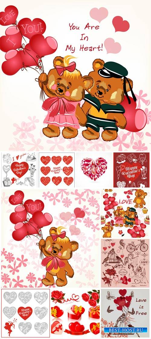Valentine's Day vector hearts, funny bears