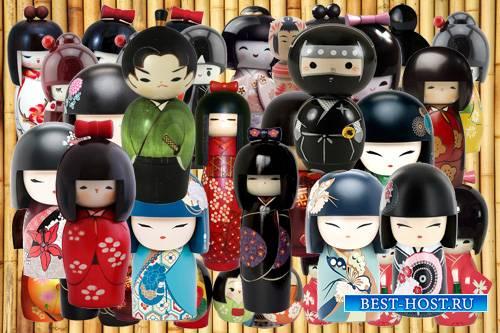 Клипарт Японские куклы-талисманы кокеши