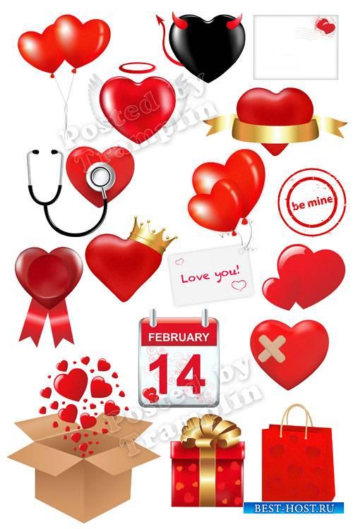 Клипарт к Дню влюбленных – Сердечки на прозрачном фоне
