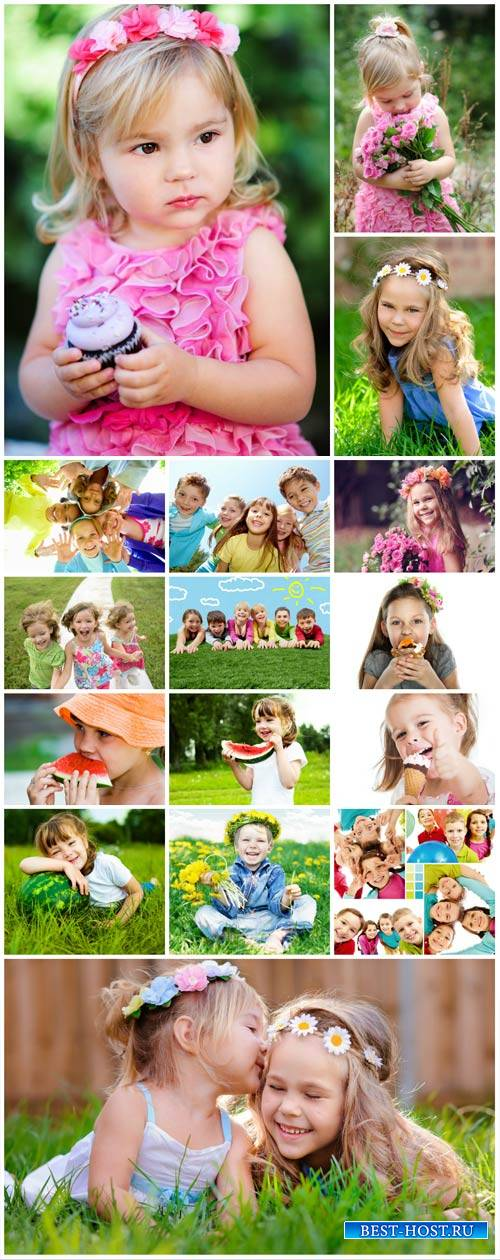 Happy children in nature - stock photos