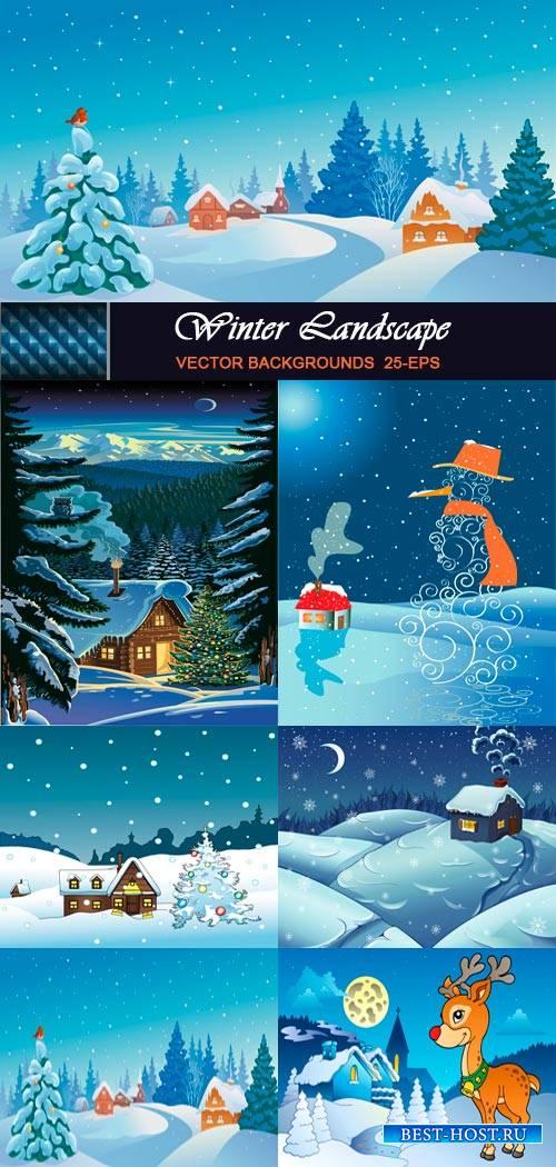 Зимний пейзаж - Детские фоны