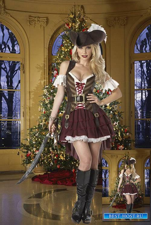 Женский фотошаблон - Красивая пиратка в новогоднюю ночь