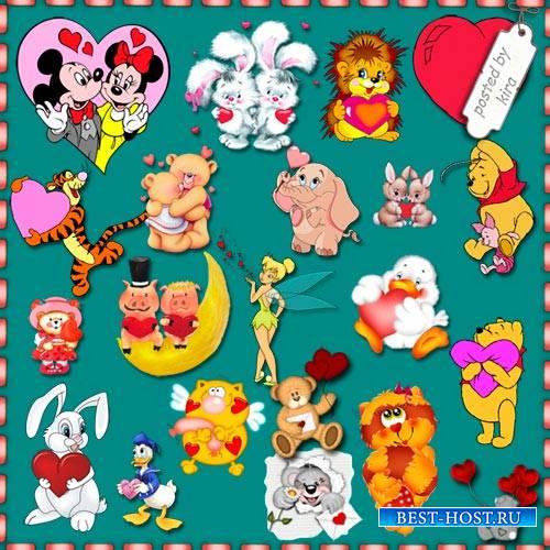 Романтический клипарт - Зверушки и мультяшки с сердечками