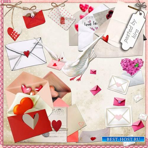 Романтичный клипарт - Письма с сердцами