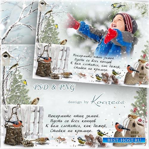 Детская зимняя открытка с фоторамкой - Покормите птиц зимой