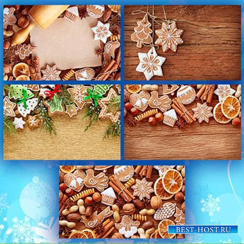 Новогодние фоны, печенье - фотоклипарт
