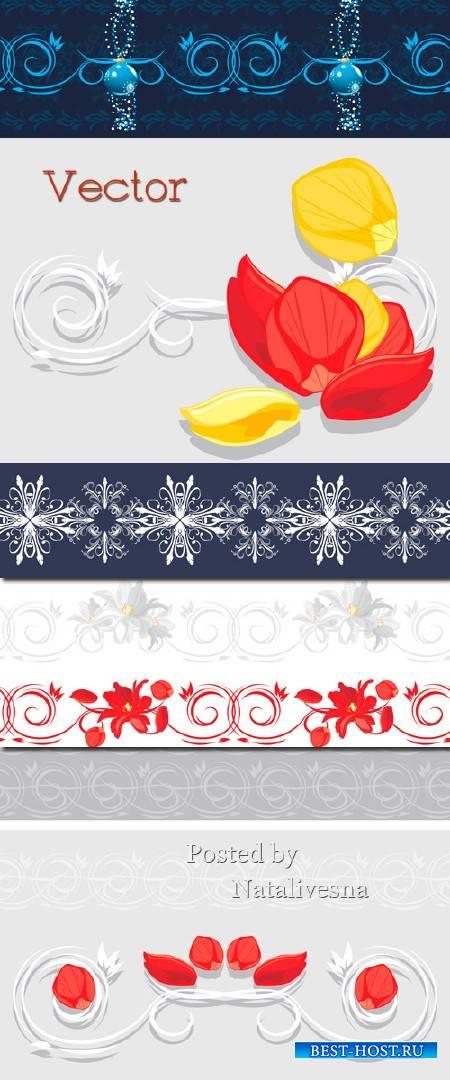 Фоны в Векторе с лепистками цветов и декоративных узоров