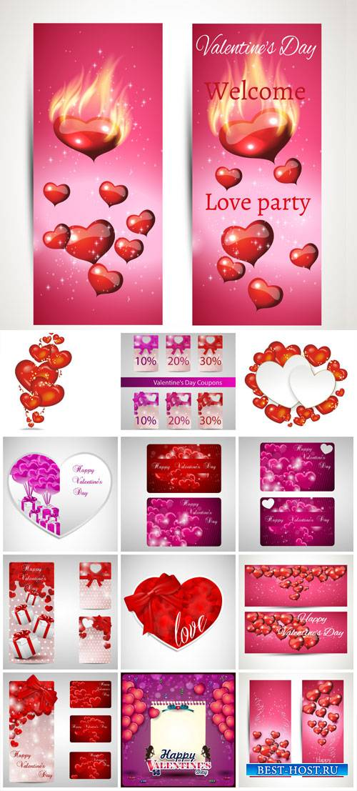 Valentine's Day, backgrounds, banners, hearts, vector # 8