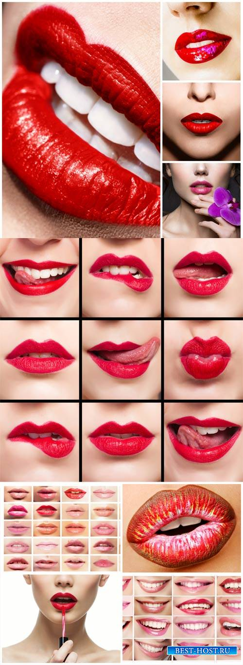 Female lips, beautiful make-up - stock photos