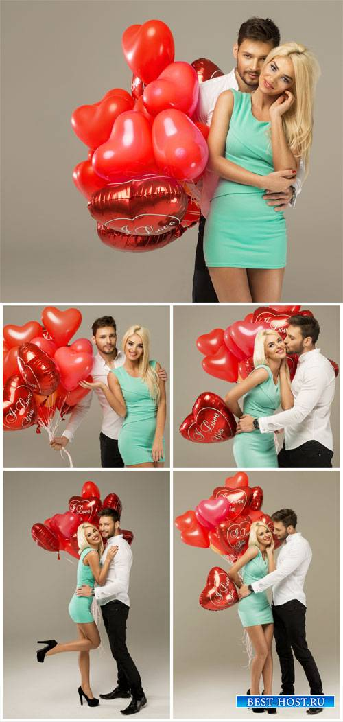 Valentine's Day, loving couple with hearts - Stock Photo