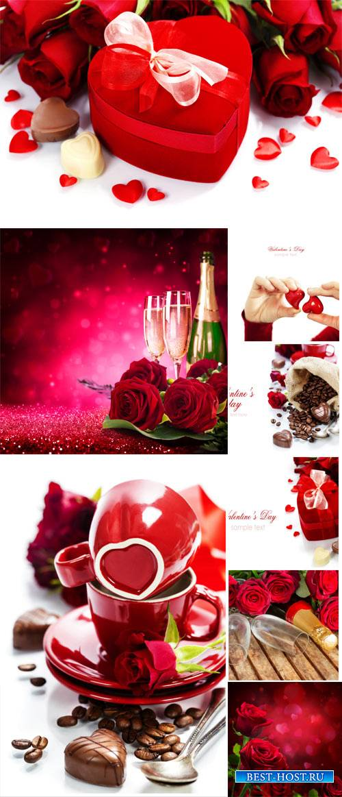 Valentine's Day, roses, champagne and hearts - stock photos