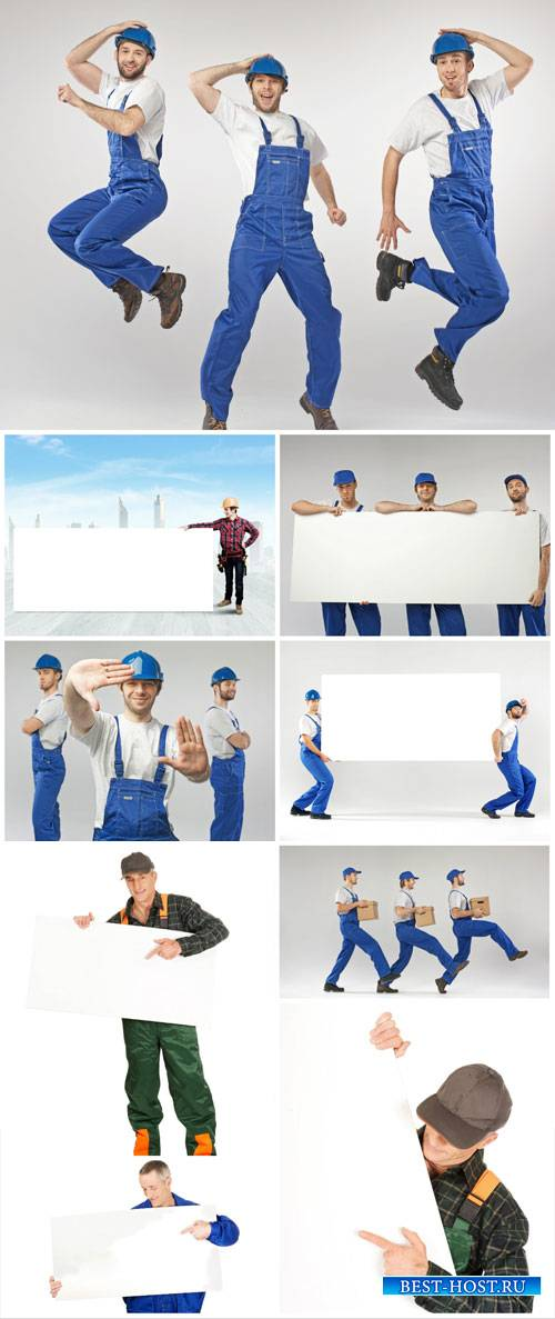 Working men with placards - stock photos