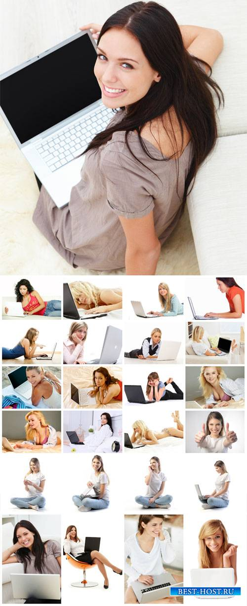 Girls with a laptop, modern technology - stock photos