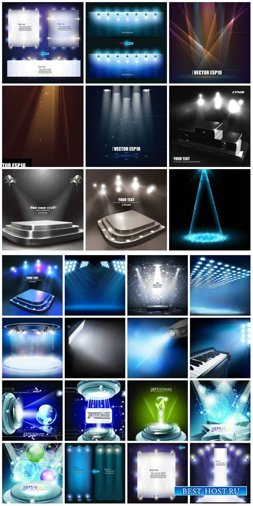 Lights, vector background with spotlights