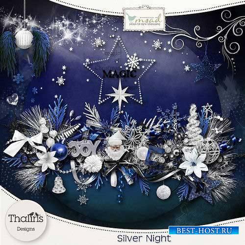 Зимний скрап-комплект - Серебристая ночь