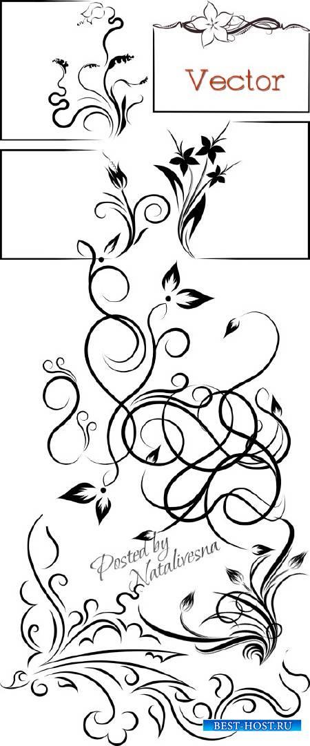 Декоративные элементы и узоры для дизайна в Векторе