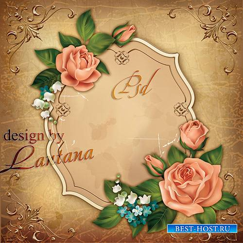 Psd исходник - Винтажная открытка с розами