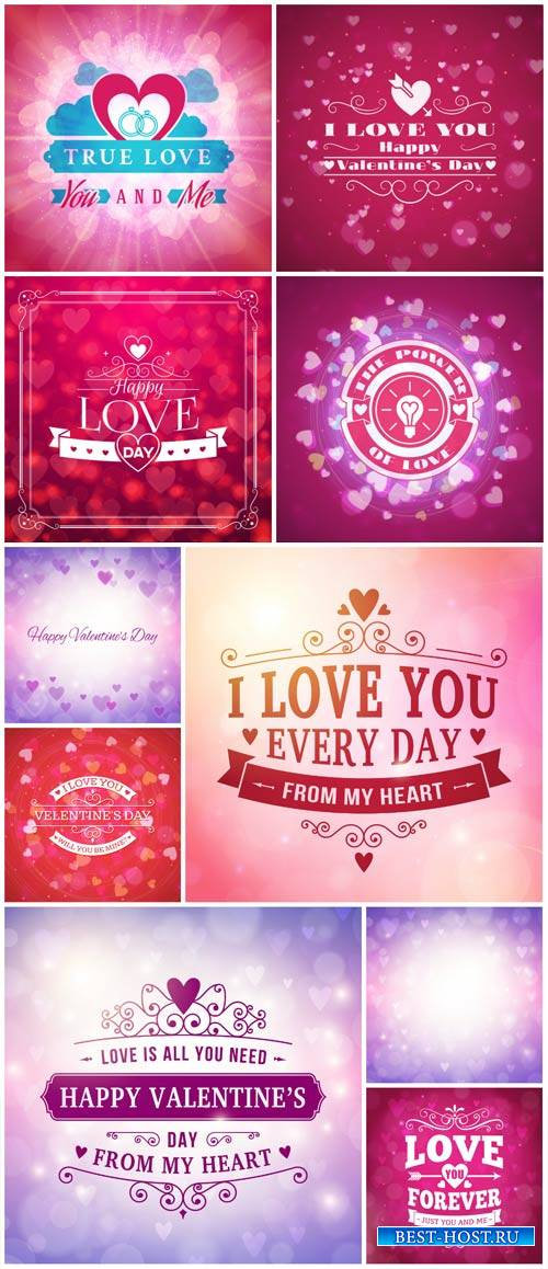 Valentine's Day, backgrounds, vector hearts # 11