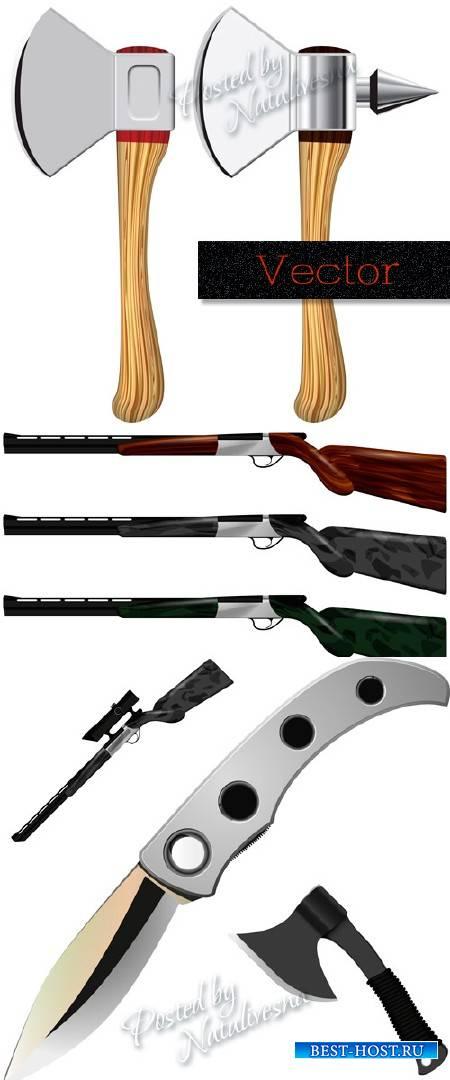 Подборка оружия в векторе  – Ружье, топор и нож