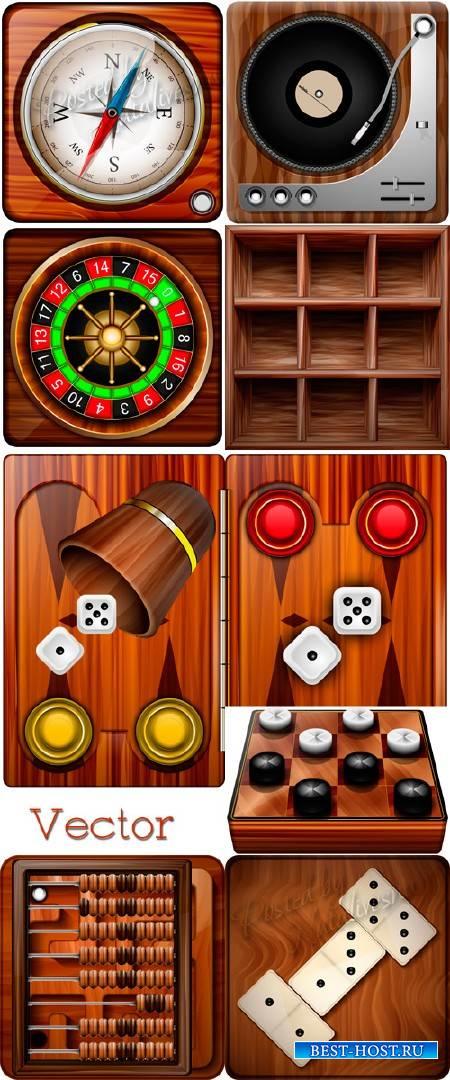 Векторная подборка иконок – Нарды, шахматы и домино