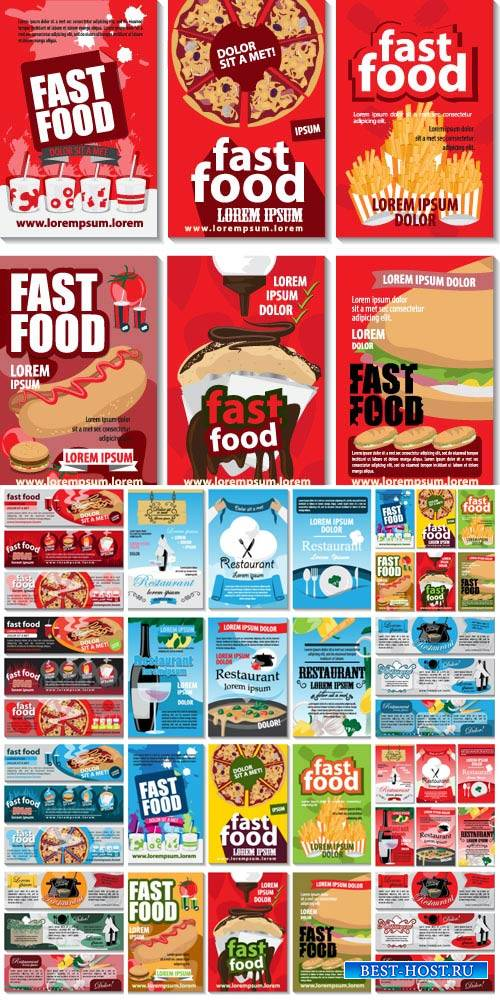 Labels fast food, restaurant menu vector