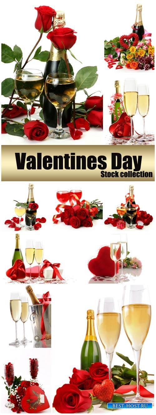 Valentine's Day, champagne and roses, hearts # 27 - stock photos